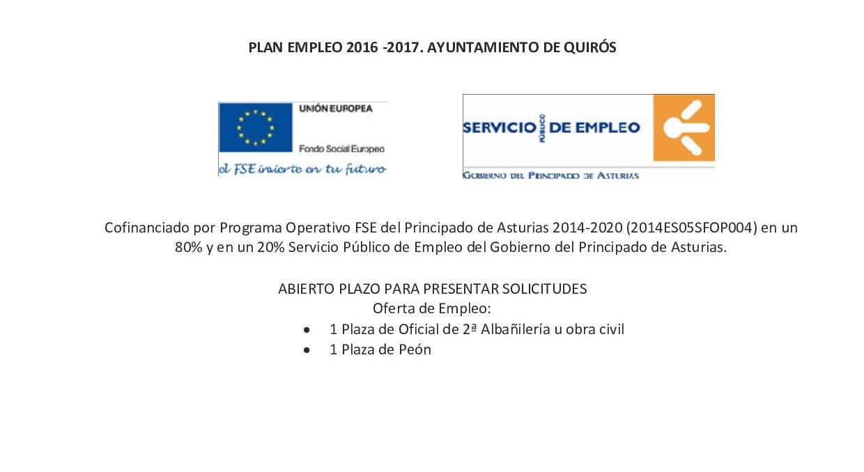 Plan empleo Quirós