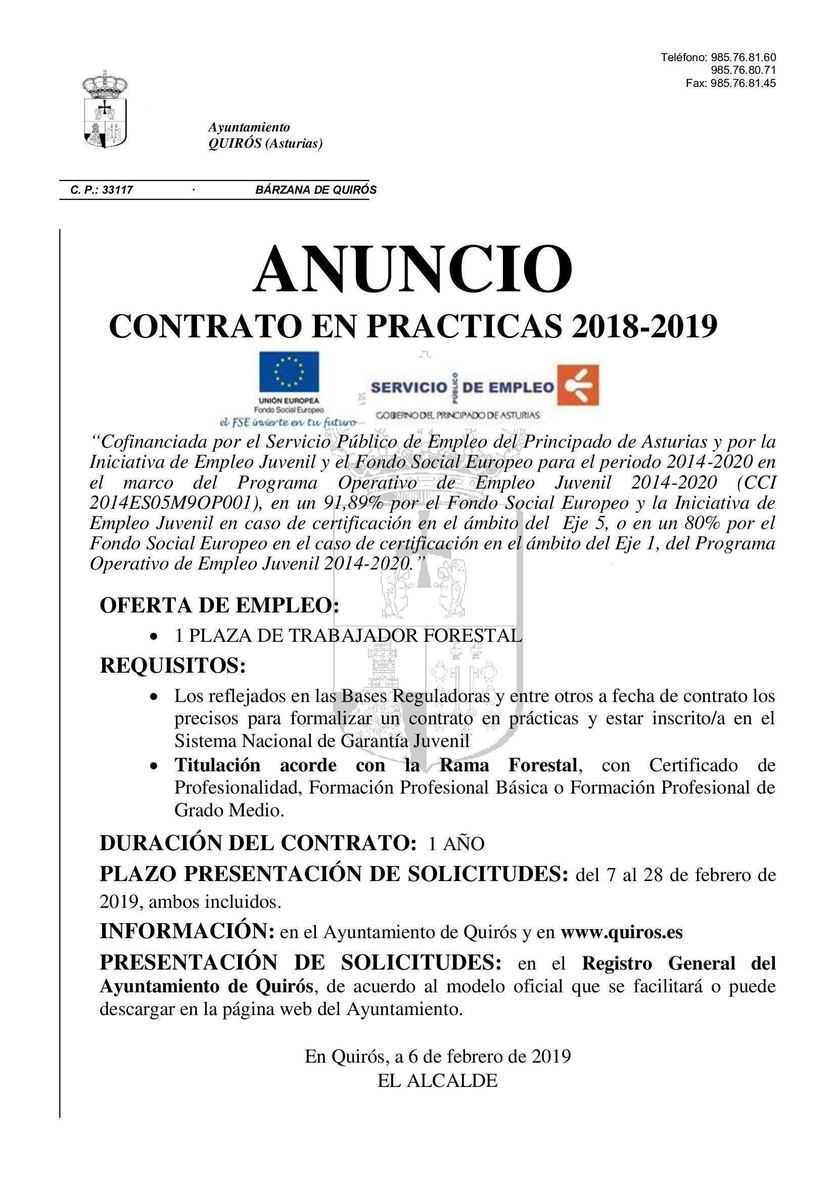 Anuncio contrato prácticas Ayto Quirós
