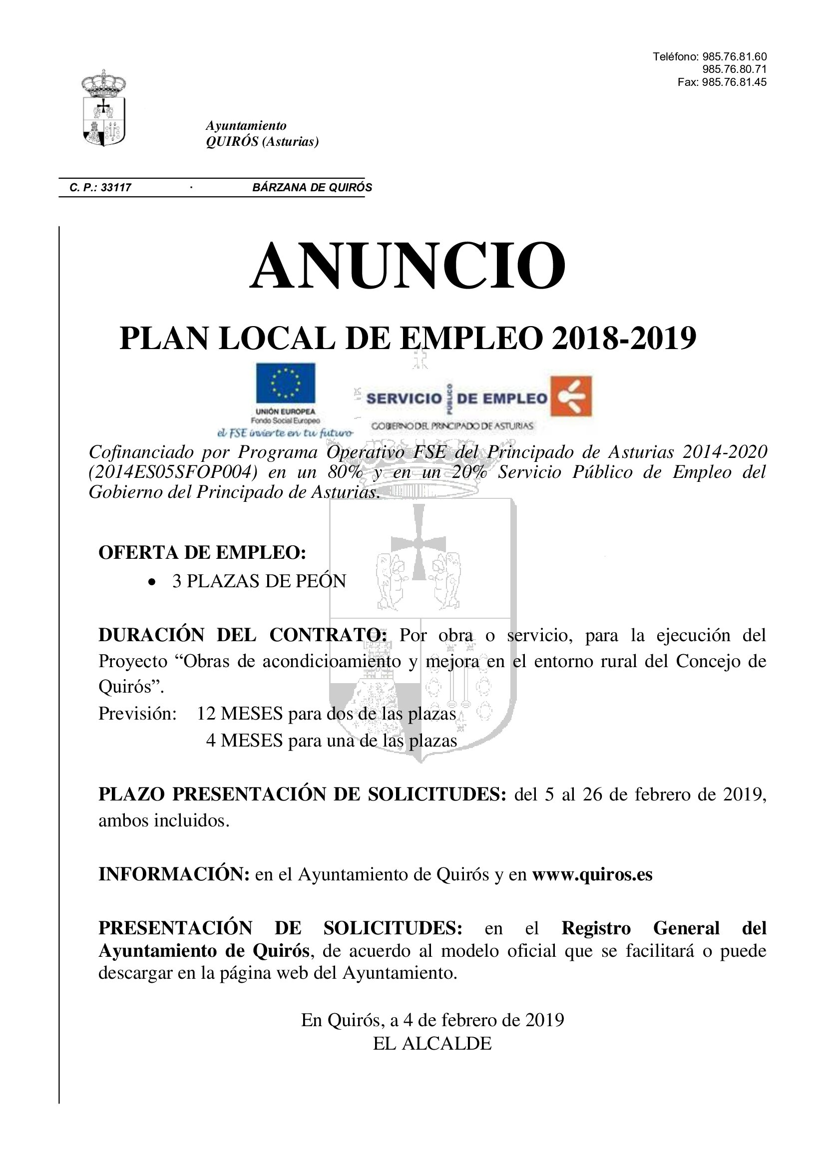 Anuncio Plan Local de Empleo 2018 2019 Quirós